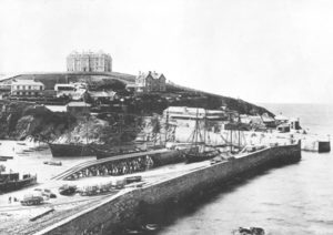 Newquay Harbour, Fish Cellar , Atlantic Hotel circa 1905